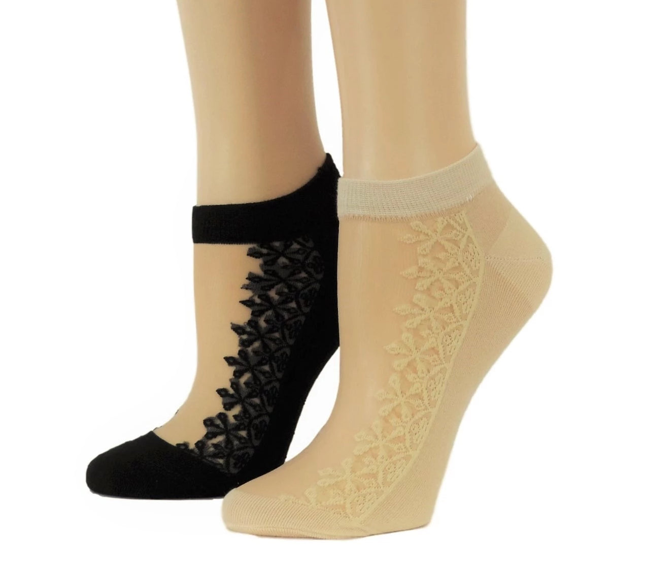 Sequence Floral Ankle Sheer Socks (Pack of 2 pairs) - Global Trendz Fashion®