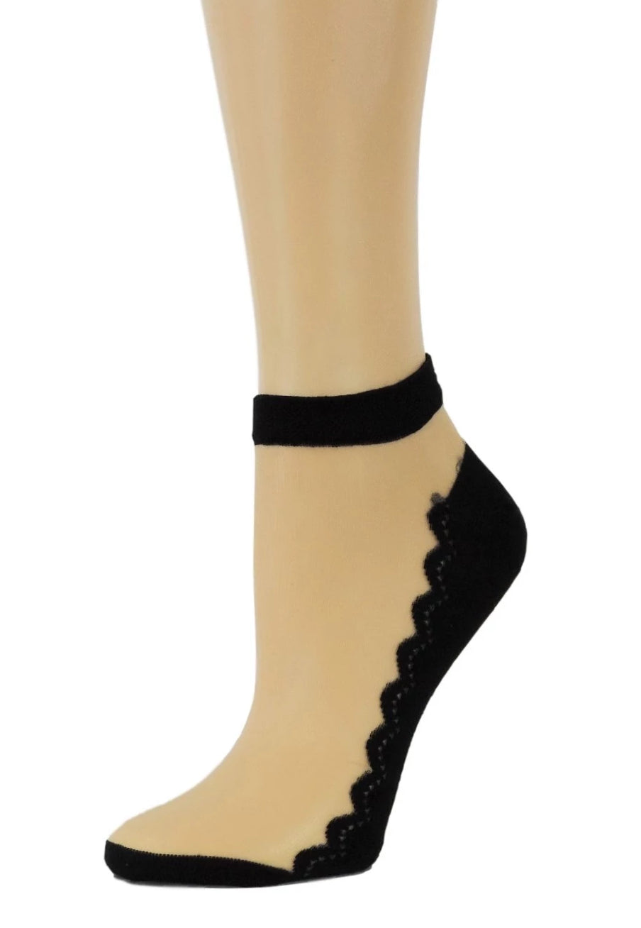 Sleek Black Ankle Sheer Socks