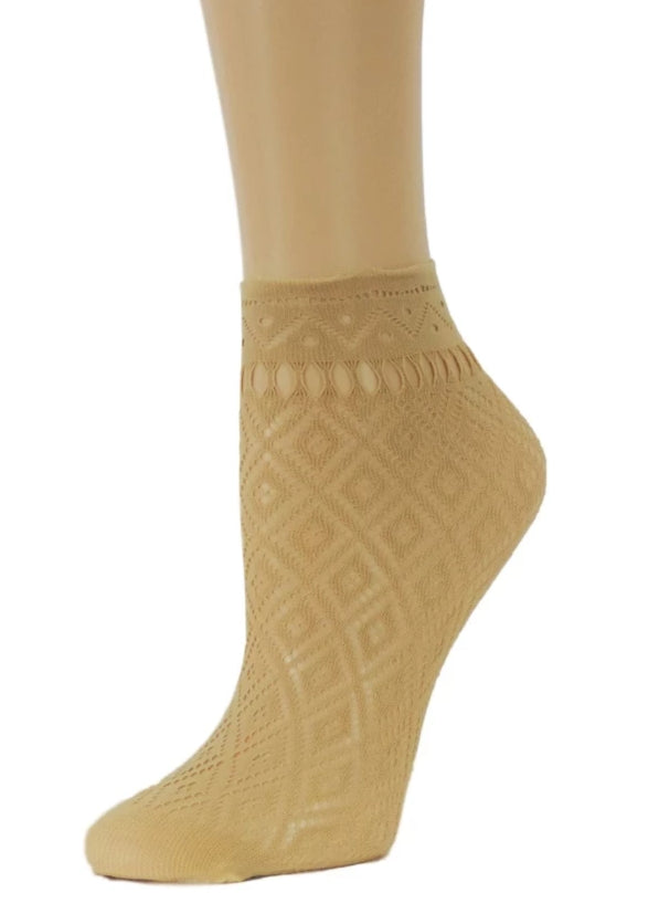 Beige Ankle Mesh Socks - Global Trendz Fashion®