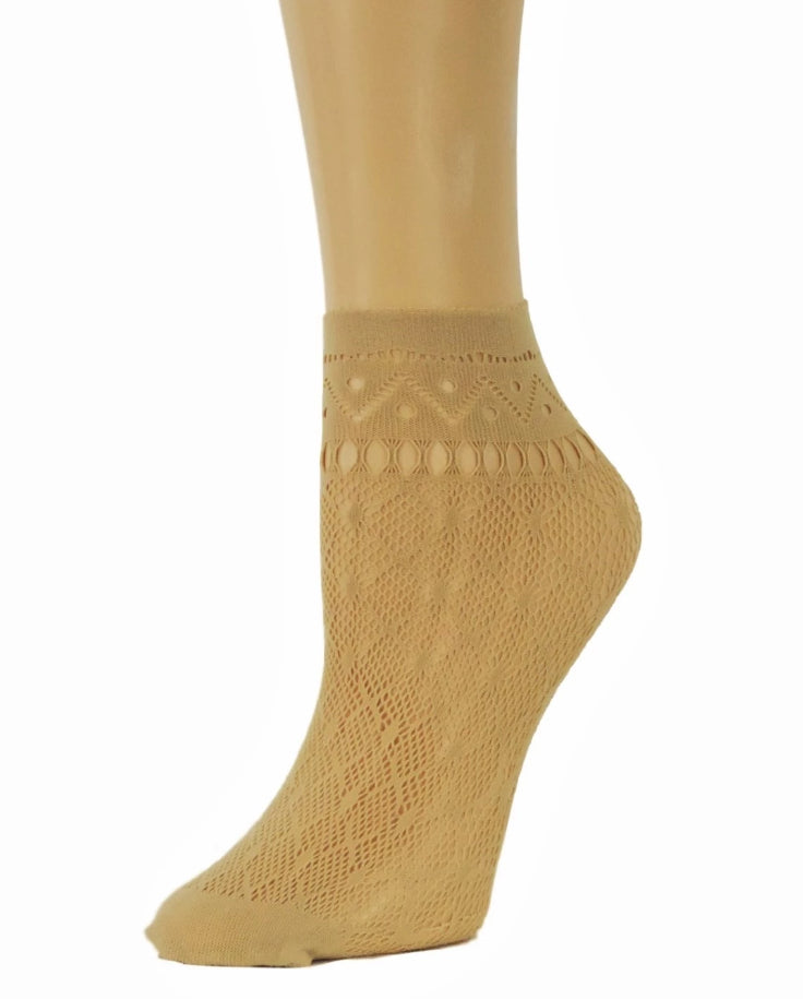 Soft Beige Ankle Mesh Socks - Global Trendz Fashion®