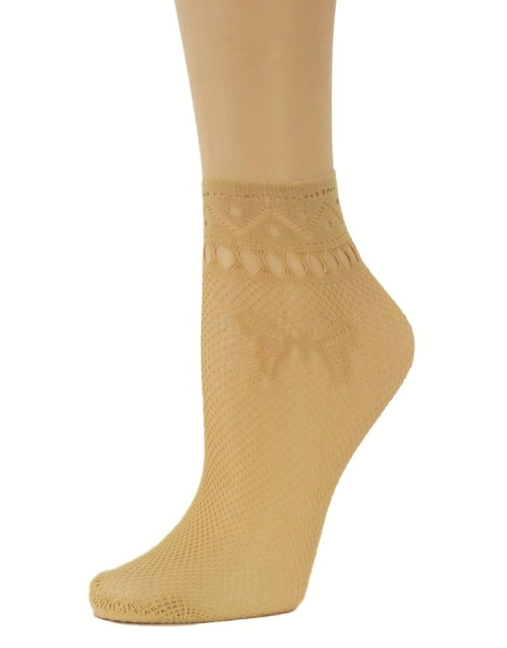 Swallowtail Beige Ankle Mesh Socks - Global Trendz Fashion®
