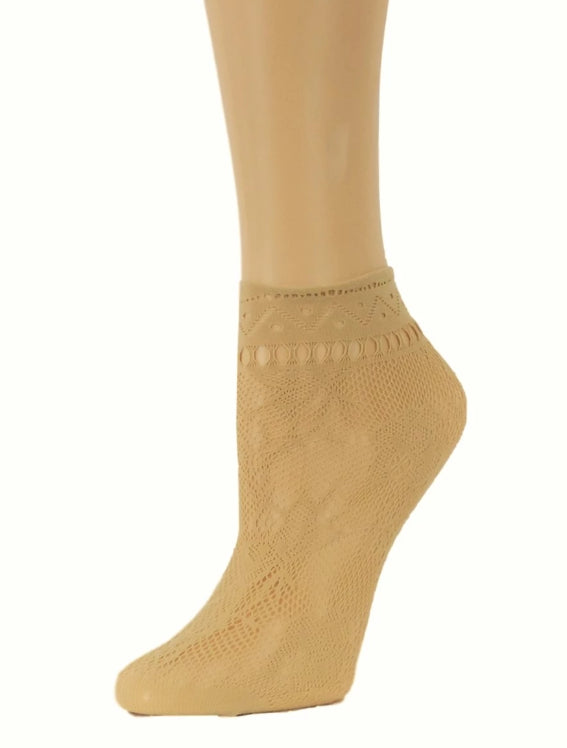 Texas Beige Ankle Mesh Socks - Global Trendz Fashion®