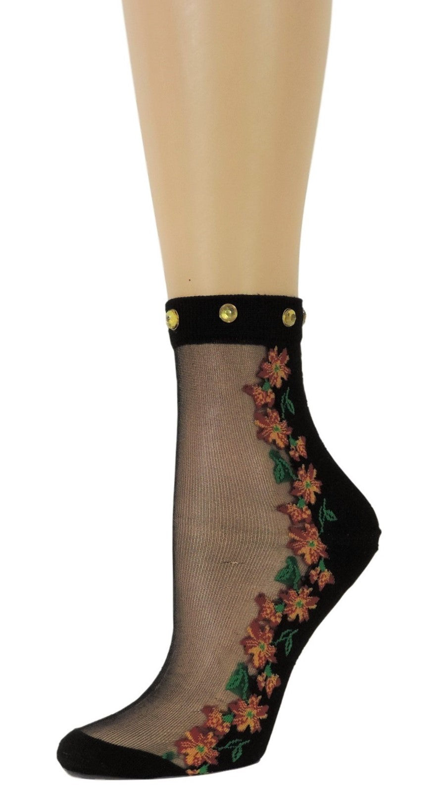 Sunflower Custom Sheer Socks with beads