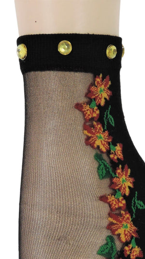 Sunflower Custom Sheer Socks with beads - Global Trendz Fashion®