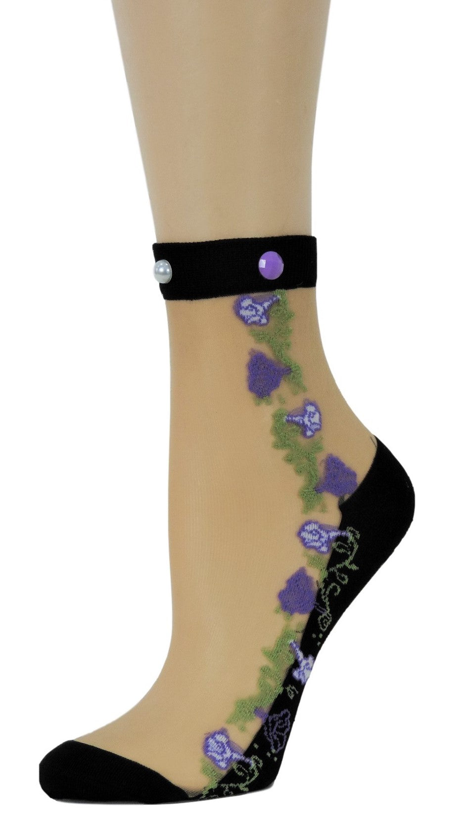 Exciting Purple Flowers Custom Sheer Socks with beads - Global Trendz Fashion®