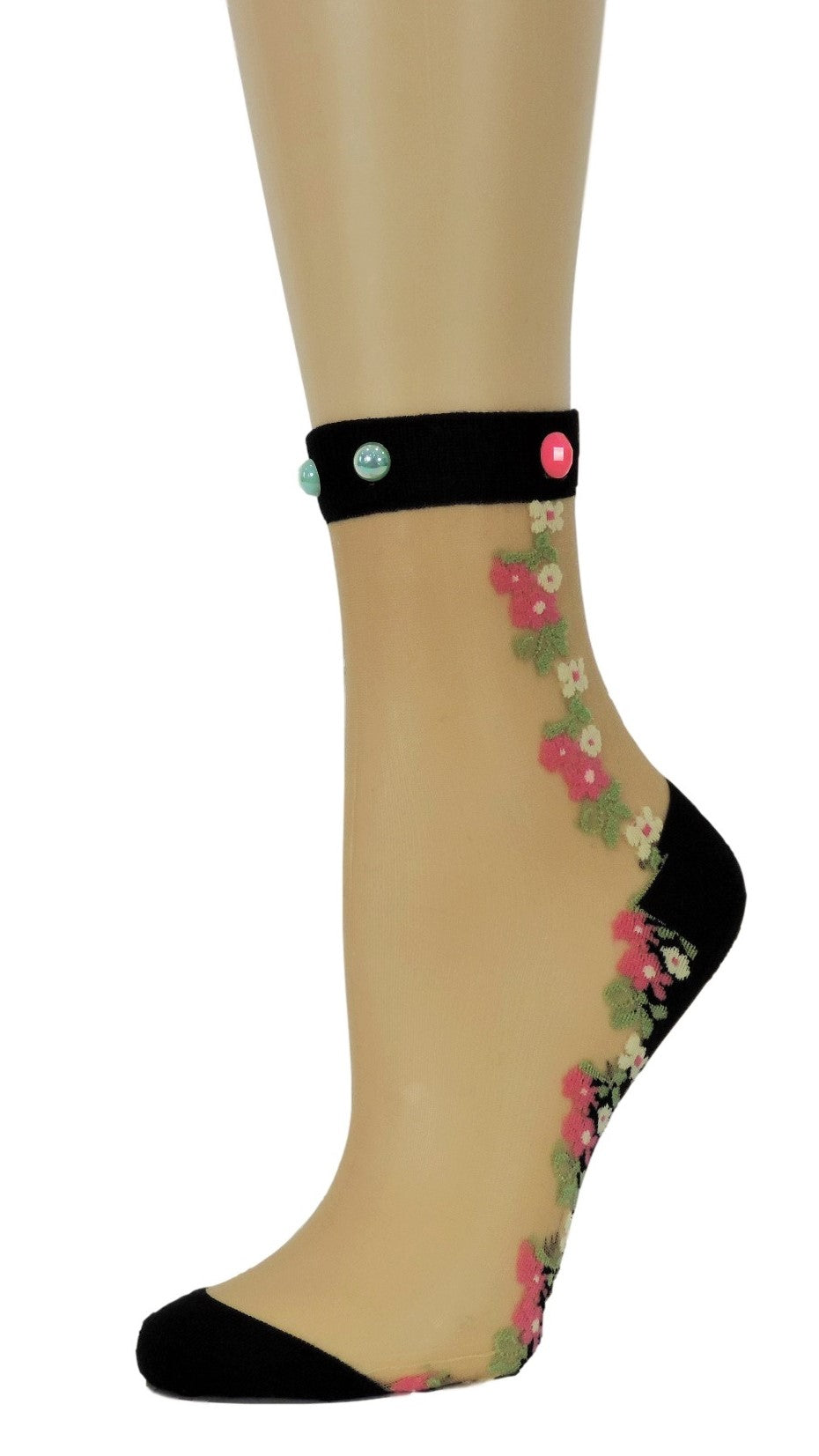 Sharp Pink/Yellow Flowers Custom Sheer Socks with beads