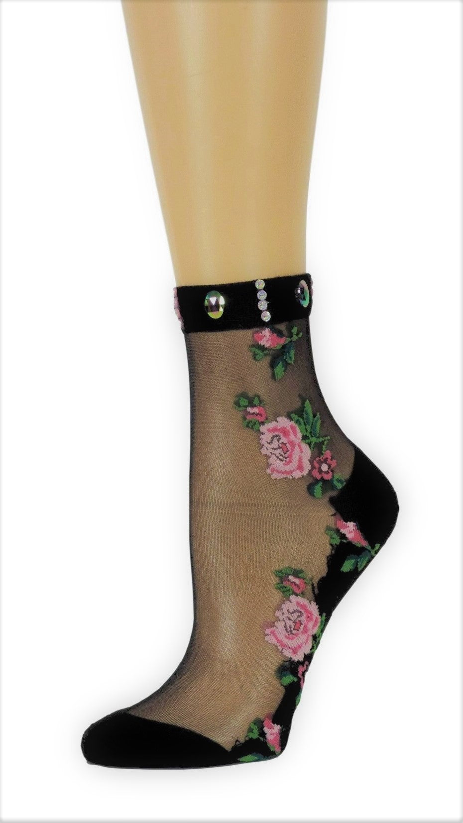 Two Peach Roses Custom Sheer Socks with beads