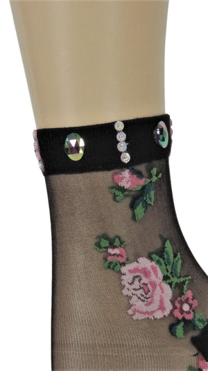 Two Peach Roses Custom Sheer Socks with beads - Global Trendz Fashion®