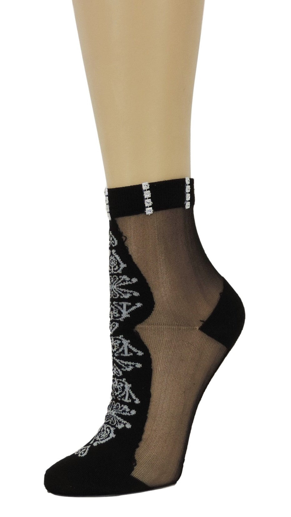Supreme Black Custom Sheer Socks with crystals