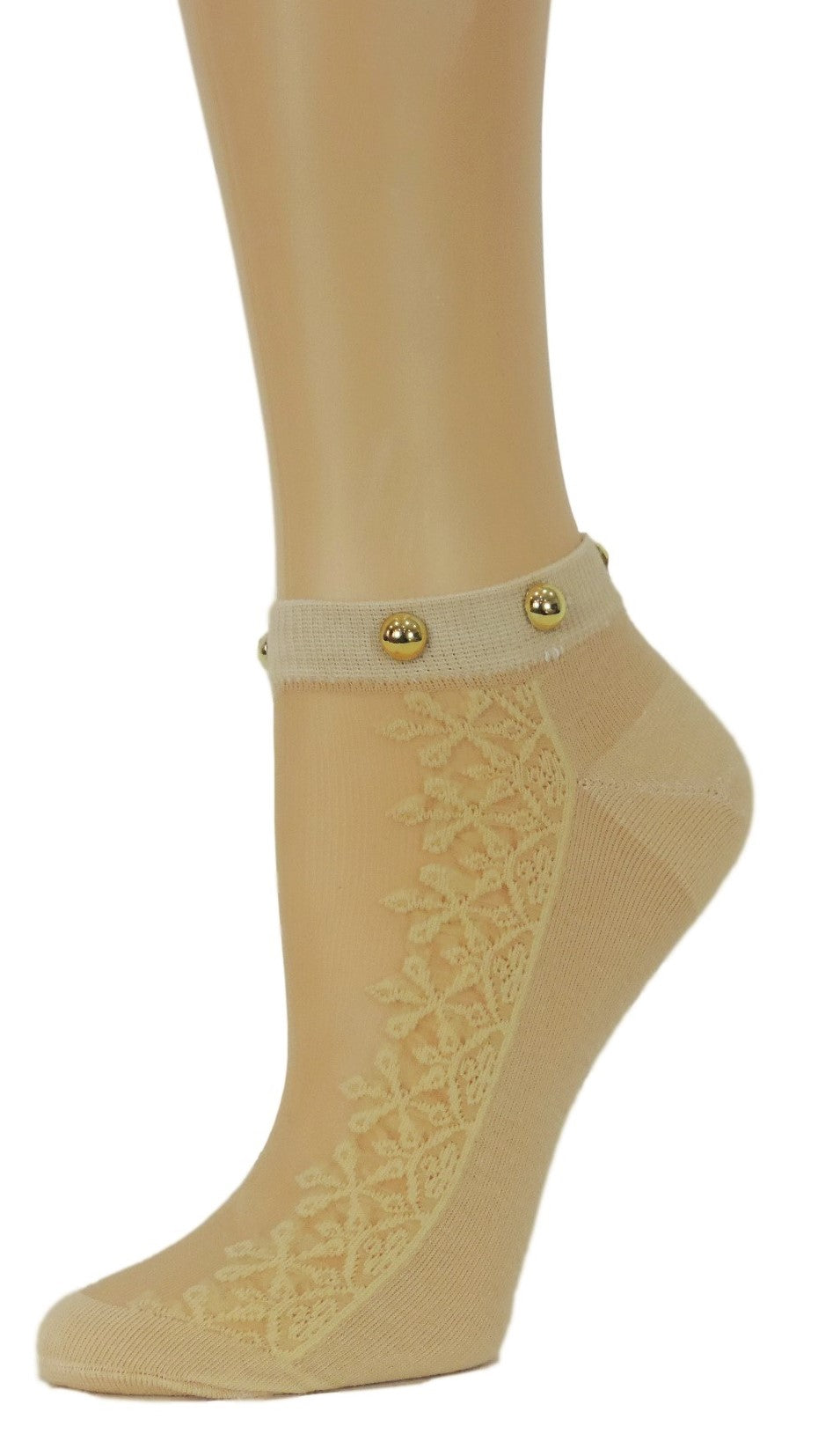 Sequence Floral Ankle Custom Sheer Socks with beads