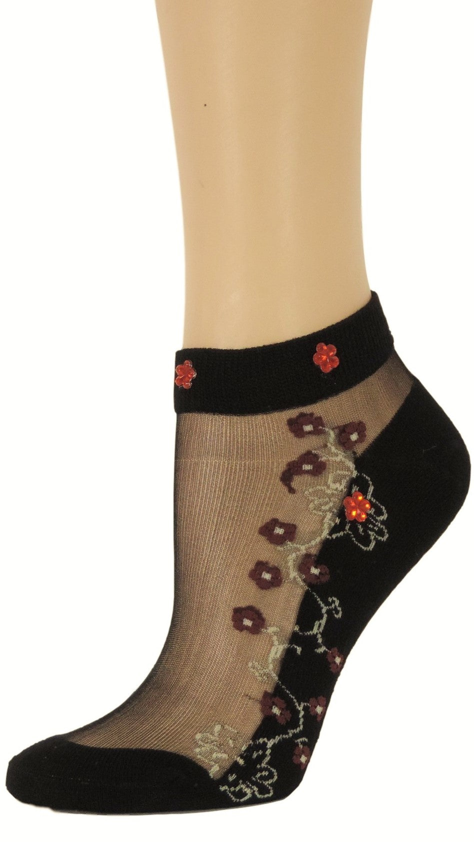 Maroon Flowers Ankle Custom Sheer Socks with beads