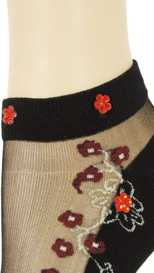 Maroon Flowers Ankle Custom Sheer Socks with beads - Global Trendz Fashion®