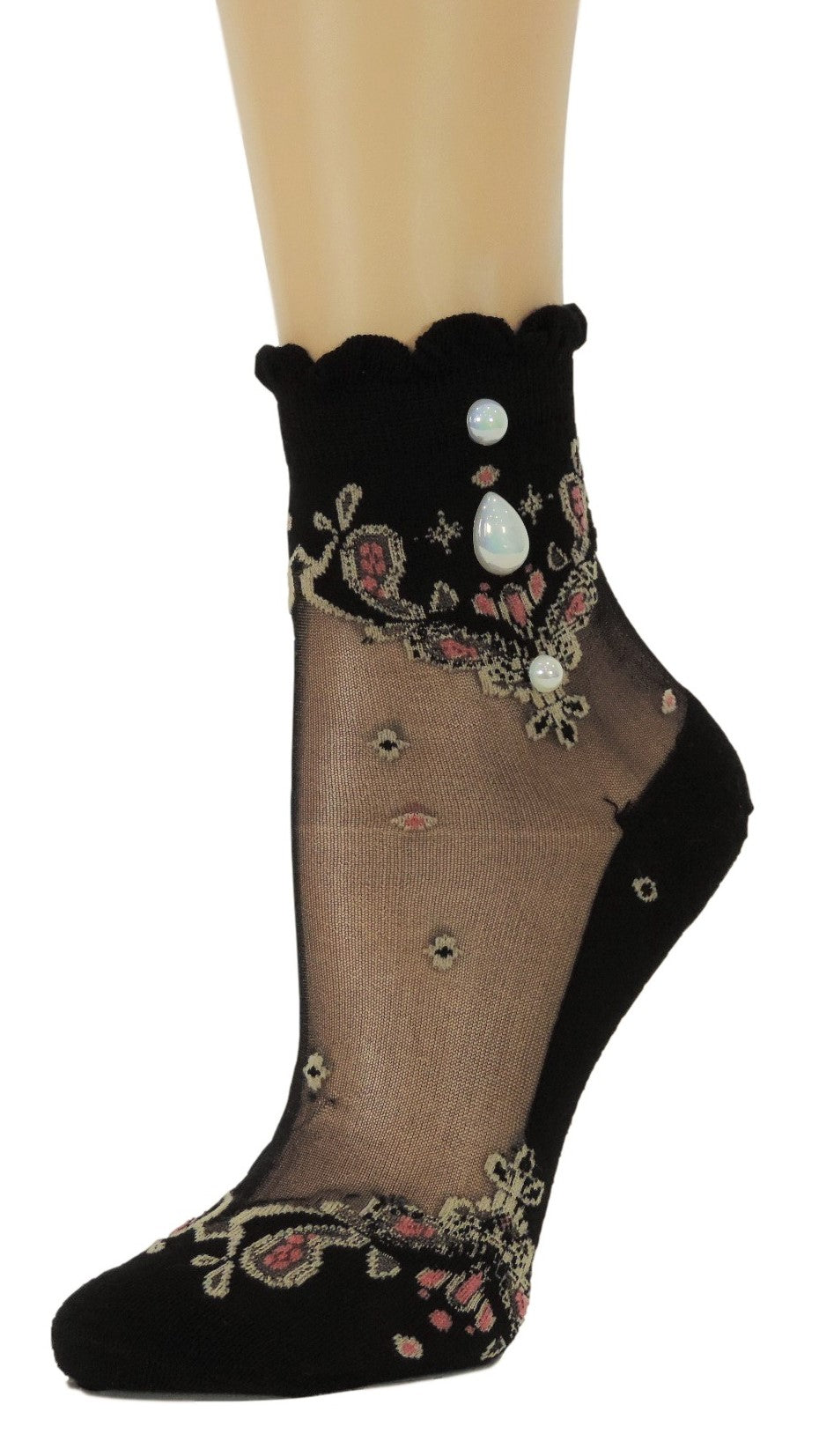 Royal Chandelier Custom Sheer Socks with beads - Global Trendz Fashion®