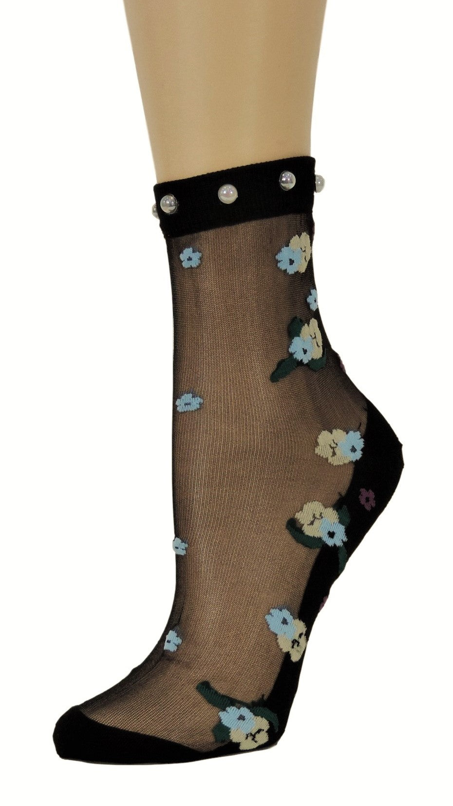 Dazzling Flowers Custom Sheer Socks with beads - Global Trendz Fashion®