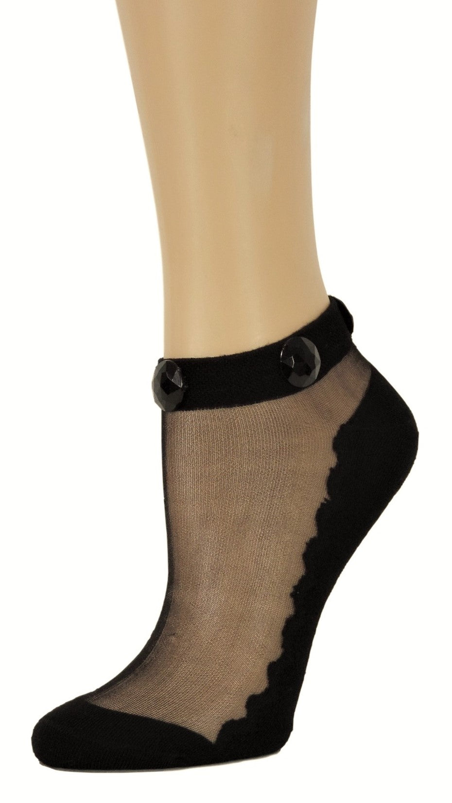 Elegant Black Ankle Custom Sheer Socks with beads - Global Trendz Fashion®