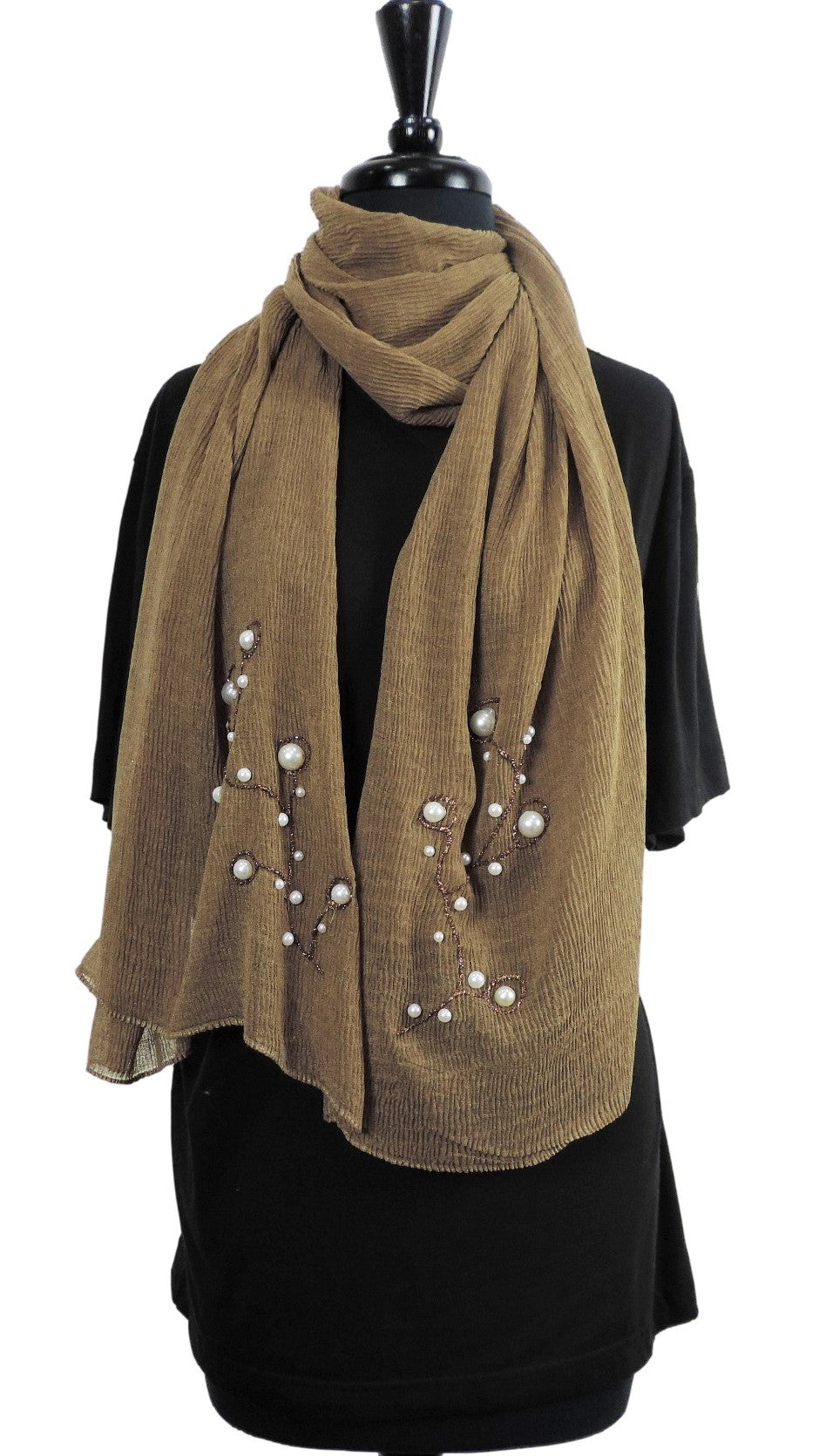 Handmade Brown Crinkle Henna Scarf - Global Trendz Fashion®