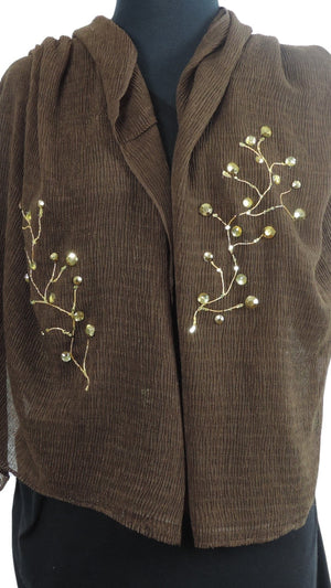 Handmade Dark Brown Crinkle Henna Scarf - Global Trendz Fashion®
