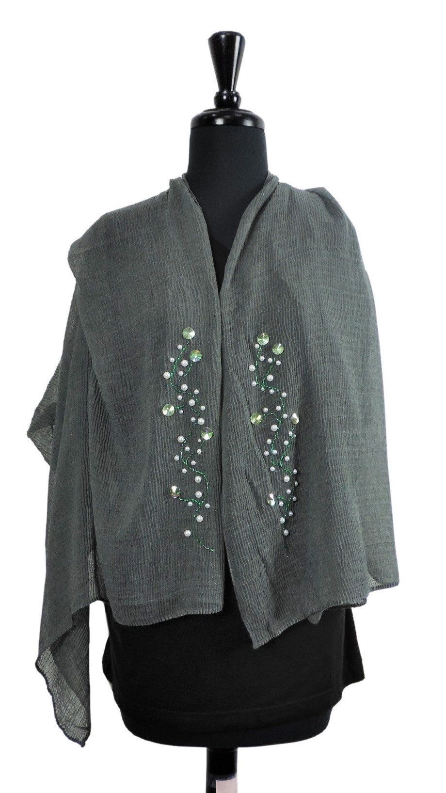 Handmade Dark Grey Crinkle Henna Scarf - Global Trendz Fashion®