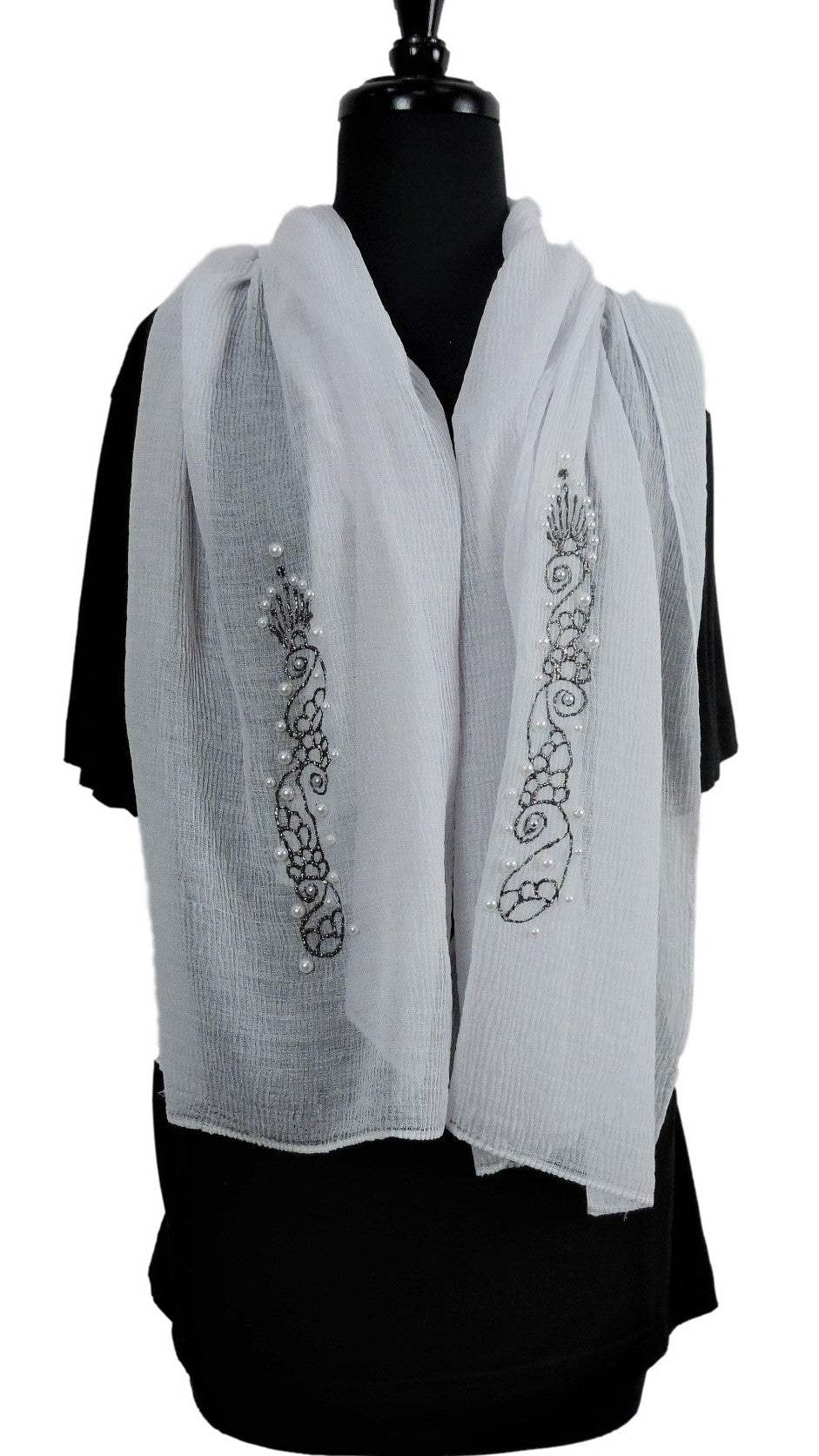 Handmade White Crinkle Henna Scarf - Global Trendz Fashion®