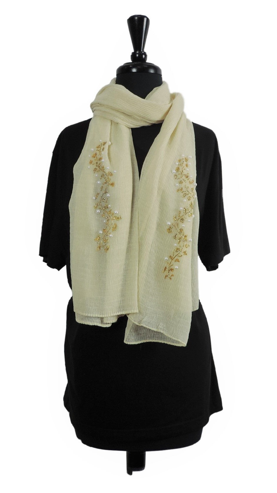 Handmade Beige Crinkle Henna Scarf - Global Trendz Fashion®
