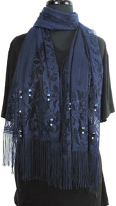 Handmade Navy Blue Net Scarf - Global Trendz Fashion®