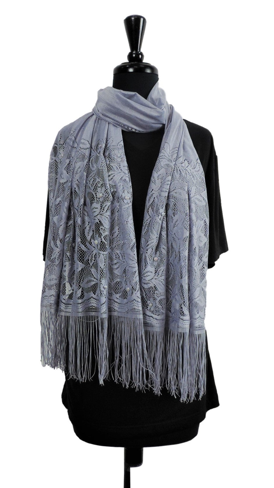 Handmade Light Grey Net Scarf - Global Trendz Fashion®