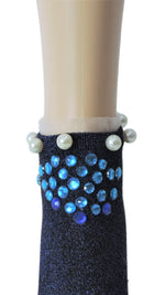 Stunning Sea-Blue Custom Ankle Socks with crystals - Global Trendz Fashion®