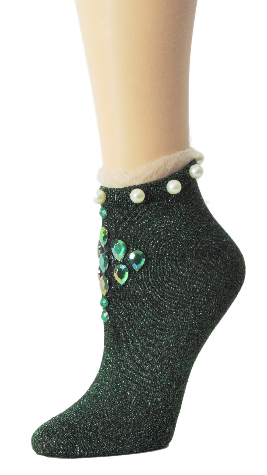 Stunning Green Custom Ankle Socks with crystals - Global Trendz Fashion®