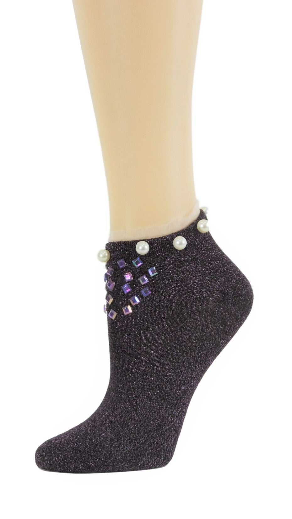 Stunning Purple Custom Ankle Socks with crystals