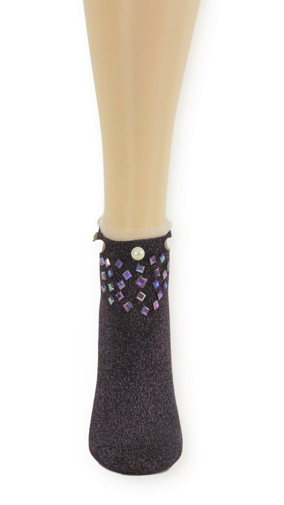 Stunning Purple Custom Ankle Socks with crystals - Global Trendz Fashion®