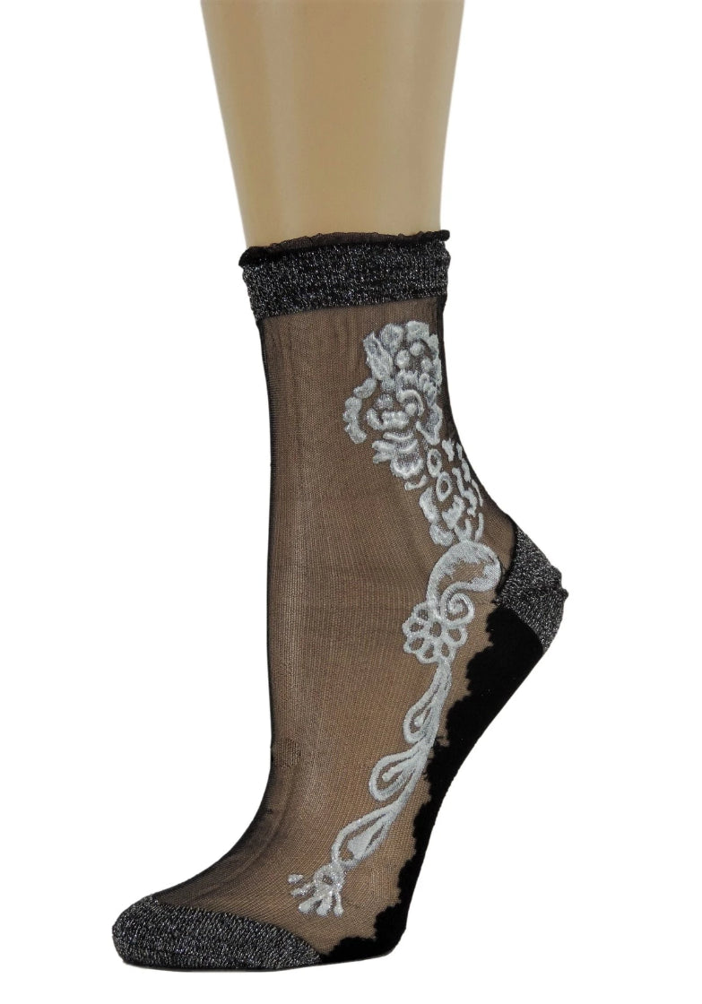 Silver Henna Sheer Socks - Global Trendz Fashion®
