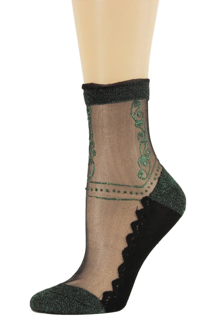 Green Henna Sheer Socks - Global Trendz Fashion®