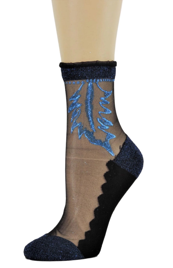 Blue Henna Sheer Socks - Global Trendz Fashion®