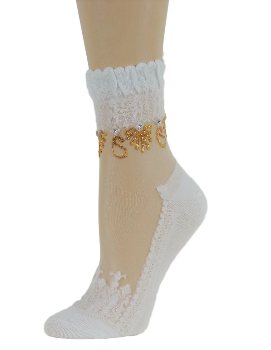 Shinny Golden Henna Sheer Socks - Global Trendz Fashion®