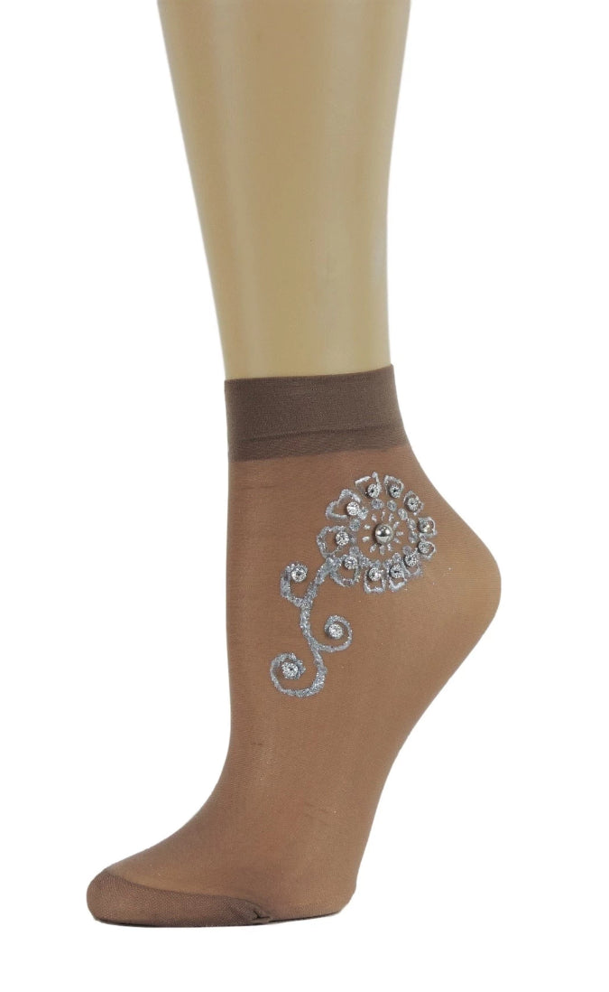 Silver Flower Henna Sheer Socks - Global Trendz Fashion®