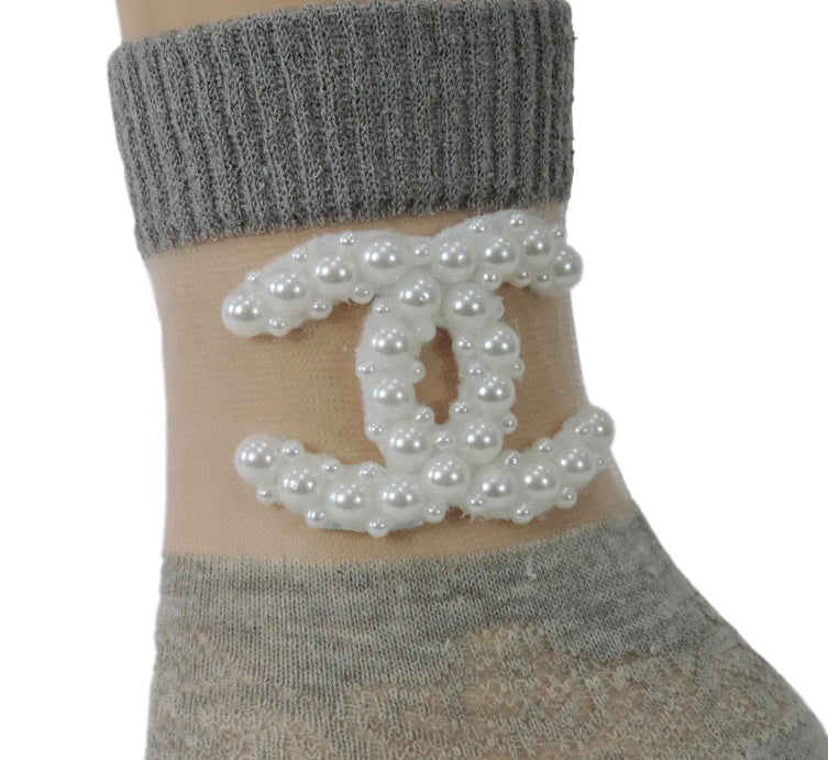 Fancy Grey Henna Sheer Socks - Global Trendz Fashion®