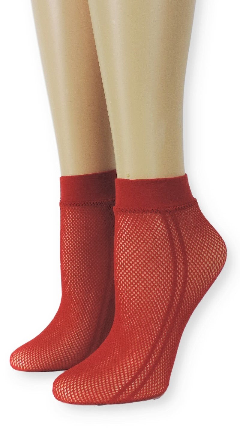 Sporty Red Mesh Socks - Global Trendz Fashion®