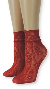 Floral Red Lace Socks - Global Trendz Fashion®