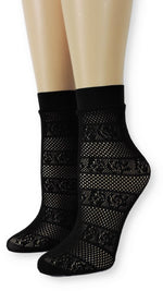 Black Flowers Stripes Mesh Socks - Global Trendz Fashion®
