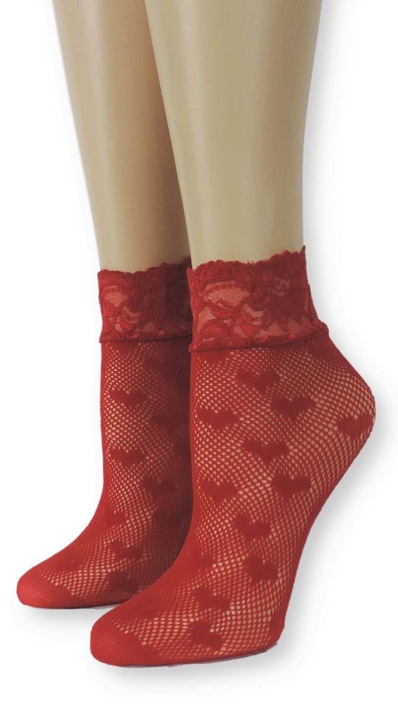 Valentine Red Mesh Socks - Global Trendz Fashion®