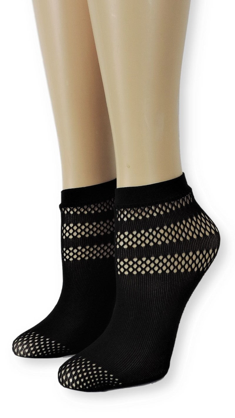 Simple Black Stripes Mesh Socks - Global Trendz Fashion®