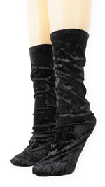 Black Crushed Velvet Socks
