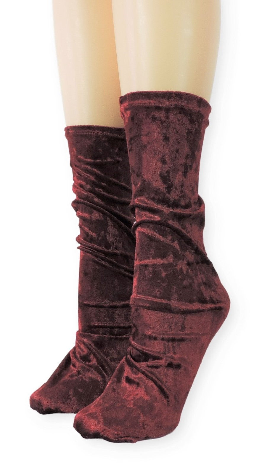Maroon Crushed Velvet Socks - Global Trendz Fashion®
