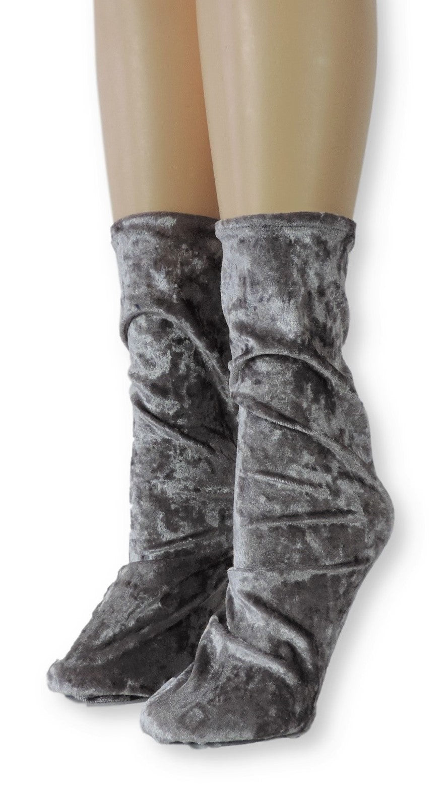 Silver Crushed Velvet Socks