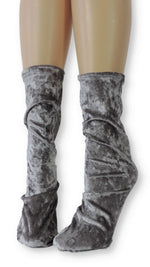 Silver Crushed Velvet Socks - Global Trendz Fashion®