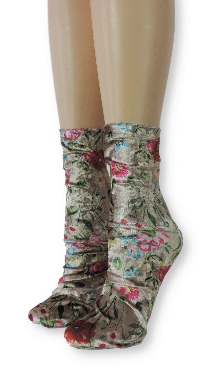 Floral Crushed Velvet Socks