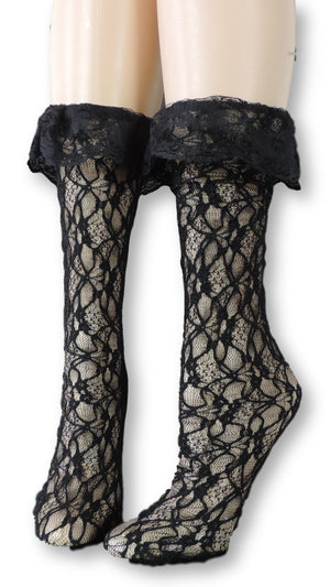 Midnight Mesh Socks with edging lace - Global Trendz Fashion®