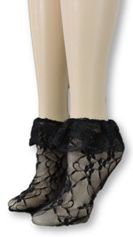 Coal Mesh Socks with edging lace - Global Trendz Fashion®