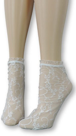 Ivory Mesh Socks with frill - Global Trendz Fashion®