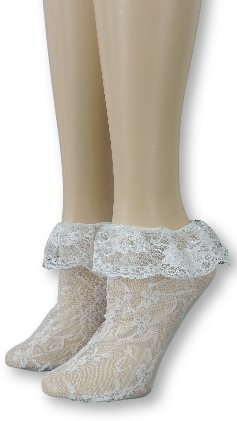 Ghost White Mesh Socks with edging lace - Global Trendz Fashion®